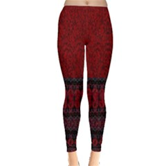 Crush Red Lace Two Pattern By Flipstylez Designs Leggings