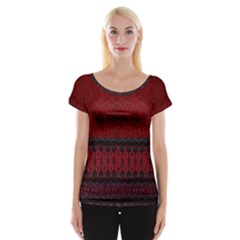 Crush Red Lace Two Pattern By Flipstylez Designs Cap Sleeve Top
