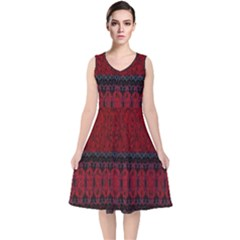 Crush Red Lace Two Pattern By Flipstylez Designs V Neck Midi Sleeveless Dress