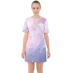 Wonderful Roses In Soft Colors Sixties Short Sleeve Mini Dress
