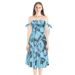 Atomic Blue Shoulder Tie Bardot Midi Dress
