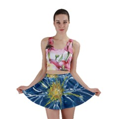 Blue Star Flower Mini Skirt