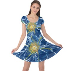 Blue Star Flower Cap Sleeve Dress