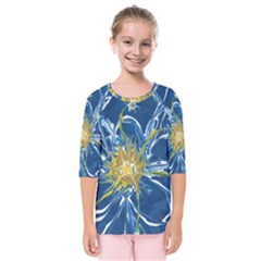 Blue Star Flower Kids  Quarter Sleeve Raglan Tee