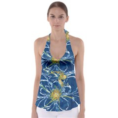 Blue Star Flower Babydoll Tankini Top