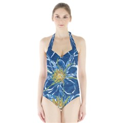 Blue Star Flower Halter Swimsuit