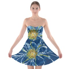 Blue Star Flower Strapless Bra Top Dress