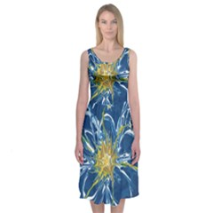 Blue Star Flower Midi Sleeveless Dress