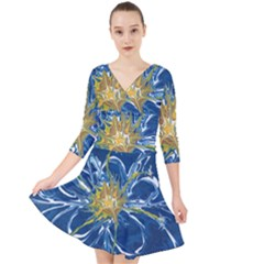 Blue Star Flower Quarter Sleeve Front Wrap Dress