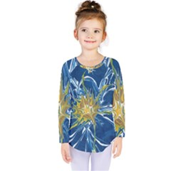 Blue Star Flower Kids  Long Sleeve Tee
