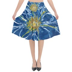 Blue Star Flower Flared Midi Skirt