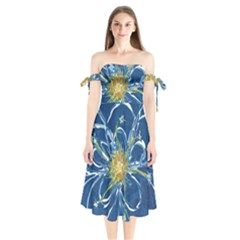 Blue Star Flower Shoulder Tie Bardot Midi Dress