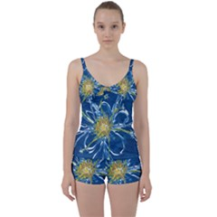 Blue Star Flower Tie Front Two Piece Tankini