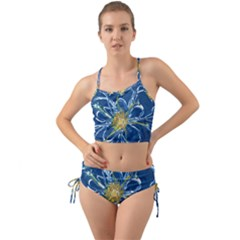 Blue Star Flower Mini Tank Bikini Set