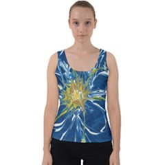 Blue Star Flower Velvet Tank Top
