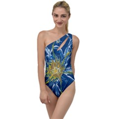 Blue Star Flower To One Side Swimsuit