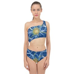 Blue Star Flower Spliced Up Two Piece Swimsuit