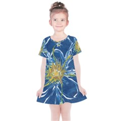 Blue Star Flower Kids  Simple Cotton Dress