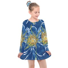 Blue Star Flower Kids  Long Sleeve Dress