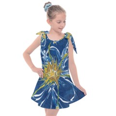 Blue Star Flower Kids  Tie Up Tunic Dress
