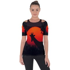 Giraffe Animal Africa Sunset Shoulder Cut Out Short Sleeve Top