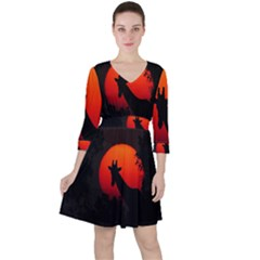 Giraffe Animal Africa Sunset Ruffle Dress