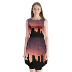 Skyline Panoramic City Architecture Sleeveless Chiffon Dress
