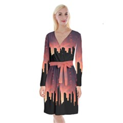 Skyline Panoramic City Architecture Long Sleeve Velvet Front Wrap Dress