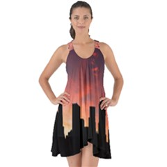 Skyline Panoramic City Architecture Show Some Back Chiffon Dress