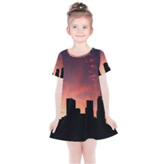 Skyline Panoramic City Architecture Kids  Simple Cotton Dress by Samandel
