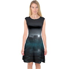 Skyline Night Star Sky Moon Sickle Capsleeve Midi Dress