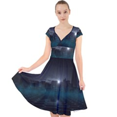 Skyline Night Star Sky Moon Sickle Cap Sleeve Front Wrap Midi Dress