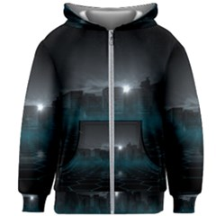 Skyline Night Star Sky Moon Sickle Kids Zipper Hoodie Without Drawstring