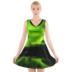 Aurora Borealis Northern Lights Sky V Neck Sleeveless Dress by Samandel