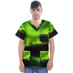 Aurora Borealis Northern Lights Sky Men s V Neck Scrub Top