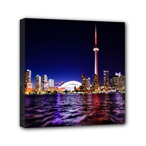 Toronto City Cn Tower Skydome Mini Canvas 6  X 6  (stretched)