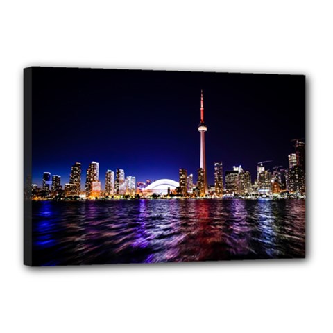 Toronto City Cn Tower Skydome Canvas 18  X 12  (stretched)