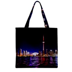 Toronto City Cn Tower Skydome Zipper Grocery Tote Bag