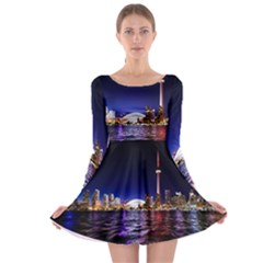 Toronto City Cn Tower Skydome Long Sleeve Skater Dress
