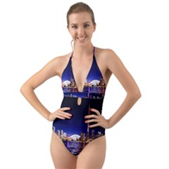 Toronto City Cn Tower Skydome Halter Cut Out One Piece Swimsuit
