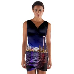 Toronto City Cn Tower Skydome Wrap Front Bodycon Dress