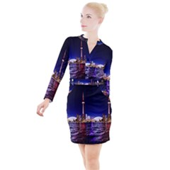 Toronto City Cn Tower Skydome Button Long Sleeve Dress
