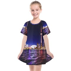 Toronto City Cn Tower Skydome Kids  Smock Dress
