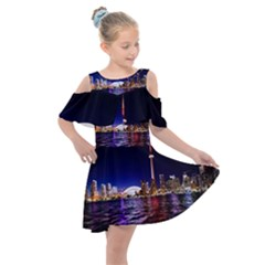 Toronto City Cn Tower Skydome Kids  Shoulder Cutout Chiffon Dress