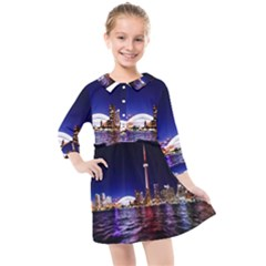 Toronto City Cn Tower Skydome Kids  Quarter Sleeve Shirt Dress by Samandel