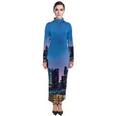 Frankfurt Germany Panorama City Turtleneck Maxi Dress