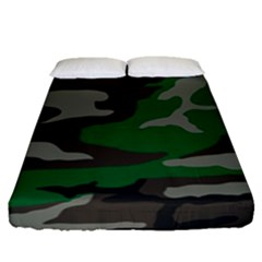 Army Green Camouflage Fitted Sheet (queen Size) by Samandel