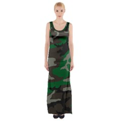 Army Green Camouflage Maxi Thigh Split Dress