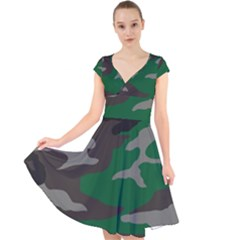 Army Green Camouflage Cap Sleeve Front Wrap Midi Dress