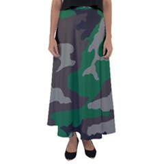 Army Green Camouflage Flared Maxi Skirt